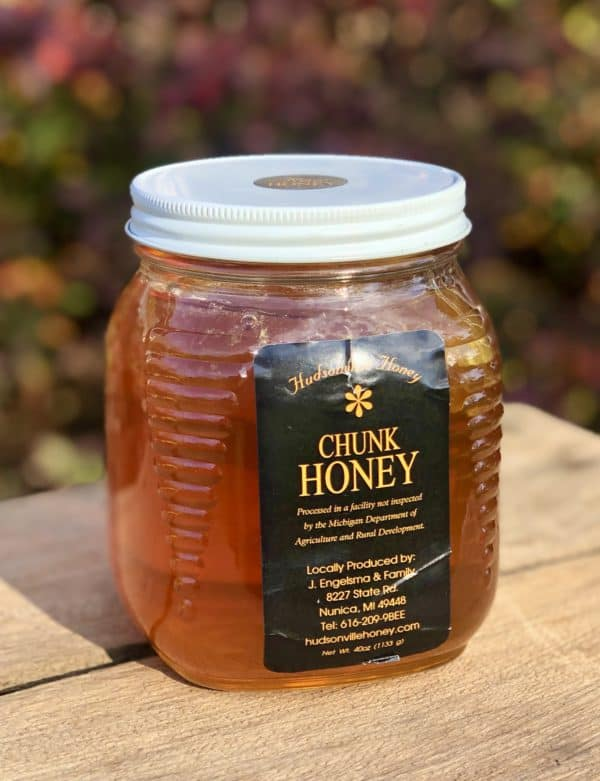 Glass jar of chunk honey