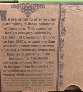 Printing on the back of the muth carton.